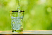 Pouring Water into a Glass against the Green Nature Background — Stock Photo