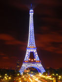 The Eiffel Tower in Blue Illumination — Stock Photo