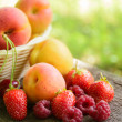 Stock Photo: Fresh Ripe Sweet Fruits on the Wooden Table