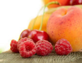 Fresh Ripe Sweet Fruits on the Wooden Table — Stock Photo
