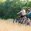 Young Happy Couple Riding Mountain Bikes Outdoor — Stock Photo #34368169