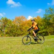 Cyclist Riding the Bike in the Beautiful Autumn Forest — Stock Photo