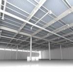 New Modern Empty Storehouse. Huge Light Storehouse — Stockfoto