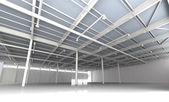 New Modern Empty Storehouse. Huge Light Storehouse — Stok fotoğraf