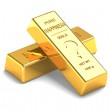Set of Gold bars Isolated on the White Background — Stock Photo