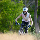 Cyclist Riding the Bike on the Trail in the Beautiful Forest — Stock Photo