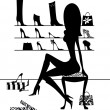 Silhouette Girl Trying On SHoes — Stock Photo