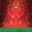 Stock Photo: Christmas Room With Red Damask Wallpaper