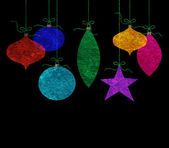 Whimsical Hanging Christmas Ornaments — Stock Photo