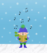 Little Boy Singing in the Snow — Stock Photo