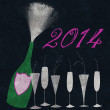 Stock Photo: New Year 2014 Champagne