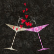 Tilted Champagne or Martini Glasses With Hearts — Stock Photo