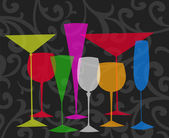 Stylized Drinks on a Black Swirl Background — Foto Stock