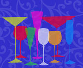 Stylized Drinks on a Blue Background — Foto Stock