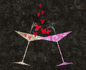 Tilted Champagne or Martini Glasses With Hearts — Foto Stock