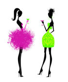 Two Chic Young Women in Party Dresses — Stock Photo