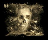 Skull With Smoke Demons — Stock Photo