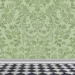 Green Damask Wall and Marble Floor — Stock Photo #39068807