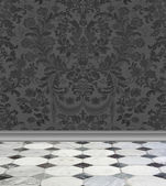 Gray Damask Wall and Marble Floor — Photo