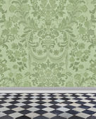 Green Damask Wall and Marble Floor — Stock Photo