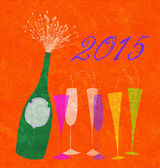 New Year 2015 Champagne — Stock Photo