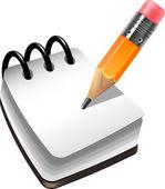 Anteckningsbok och penna — Stockvektor