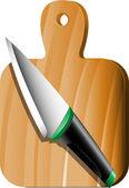 Cuchillo y tabla de cortar — Vector de stock