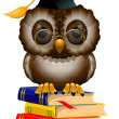 Stock Vector: Wise owl on stack of books