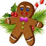 Christmas gingerbread man — Stock Vector