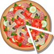 Pizza over white — Stock Vector