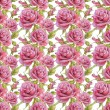Seamless pattern with watercolor roses — Stok fotoğraf