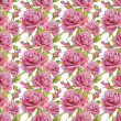 seamless pattern with watercolor roses — Stock Photo