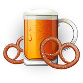 Mug of beer with pretzels. Oktoberfest — Stock Vector