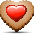 Heart shaped cookie on white background — Stock Vector