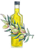 Olive oil. Watercolor illustration — Stock Photo
