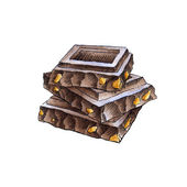 Chocolate pieces in the stack — Stock Photo