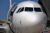 Detalle de pasajeros del ancho-cuerpo delantero avión — Foto de Stock