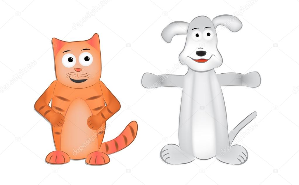Cartoon Picture Of A Cat And Dog