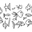 Set of Funny Sketch Fishes — Stock Vector