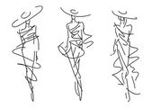 Sketch Fashion Poses — Stock Vector