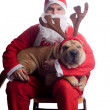 Santa claus with dog — Stock Photo