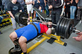 Amateur bench press championship — Stock Photo