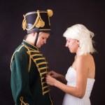 Beautiful bride and hussar — Stock Photo #25052459