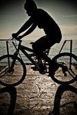 Dağ bisikleti rider siluet — Stok fotoğraf