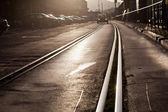 Tram track in city — Stock Photo