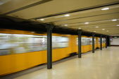 Metro train in motion - Budapest — Stock Photo