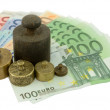 Weights on Euro money — Stock Photo