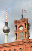 Berlin Rathaus and TV tower — Stock Photo