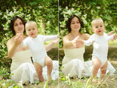 Joven madre e hijo en el parque — Foto de Stock