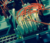 Fiber Optics with SC-LC connectors. Internet Service Provider eq — Stock Photo